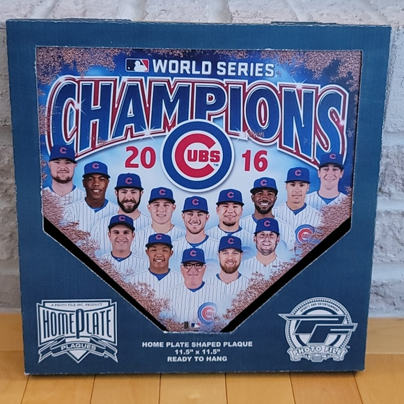 Chicago Cubs World Series Home Plate Shaped Plaque